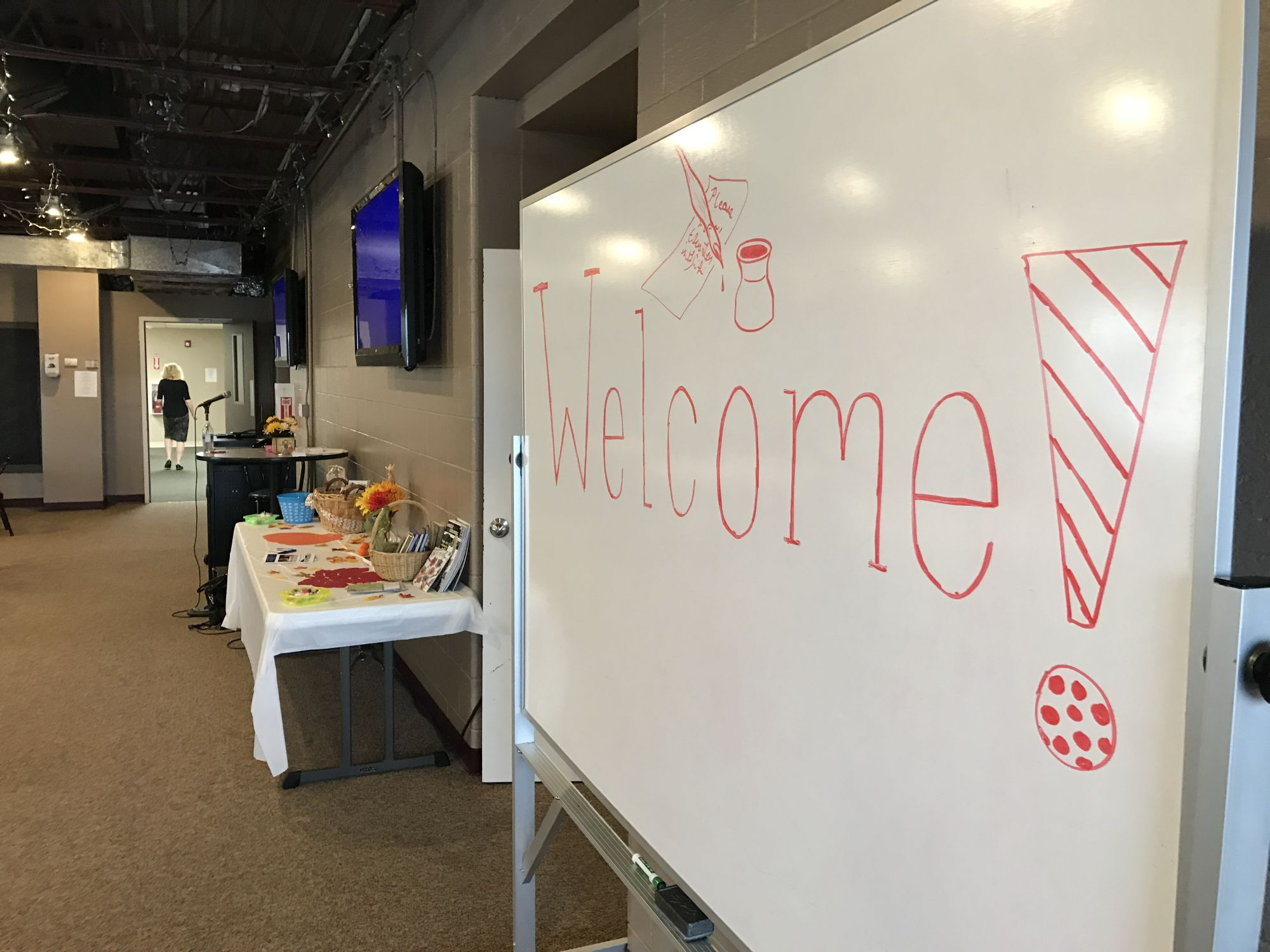 The welcome sign at the first annual Write On! Christian Writing Conference. The conference was held at Apex Community Church.