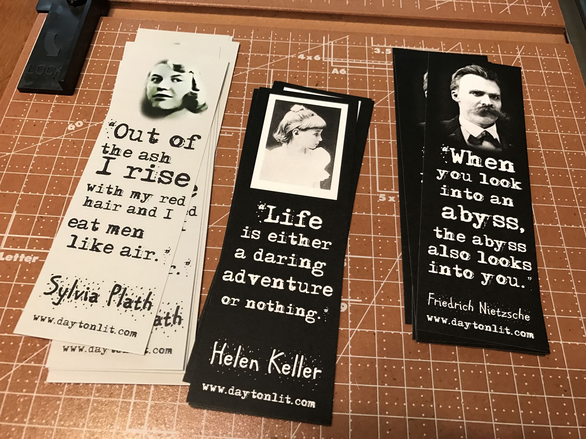 Bookmarks I made as giveaways at the conference.